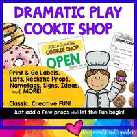 Cookie Shop Dramatic Play Center . Cookbook, Lists , Labels , Name Tags, & More!