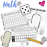 The Mitten : Math Fun! 3 Great Winter / Mitten Themed Games!