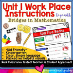 Work Place Instructions to go w/ Bridges in Mathematics Unit 1 for Kindergarten