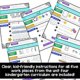 Work Place Instructions to go w/ Bridges in Mathematics Unit 4 for Kindergarten