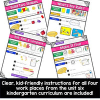 Work Place Instructions to go w/ Bridges in Mathematics Unit 6 for Kindergarten