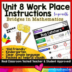 Work Place Instructions to go w/ Bridges in Mathematics Unit 8 for Kindergarten