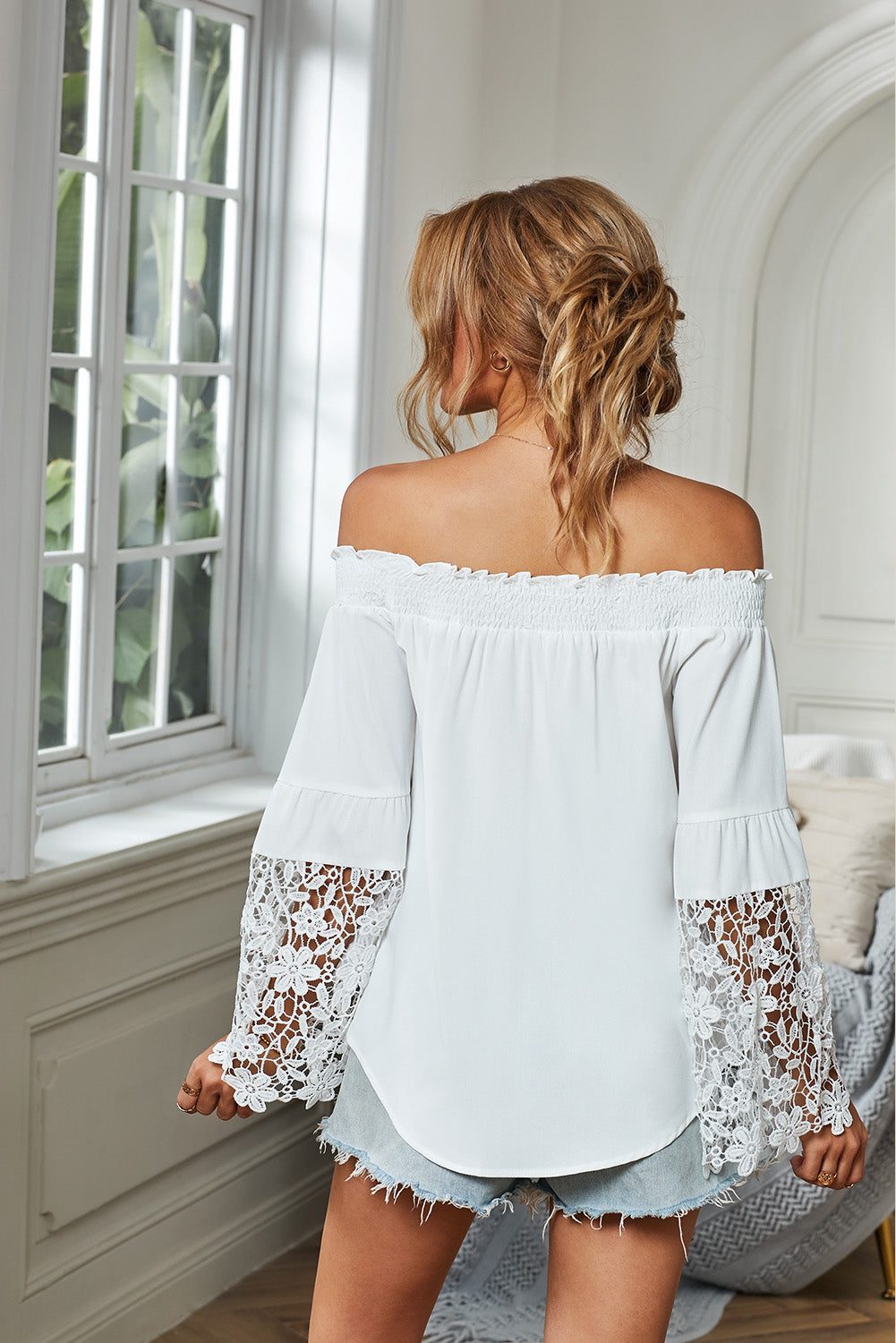 White Off Shoulder Crochet Hem Top