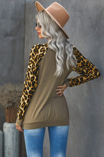 Load image into Gallery viewer, Round Neck Leopard Print Sequin Long Sleeve Top