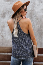 Blue Printed Racerback Tank Top