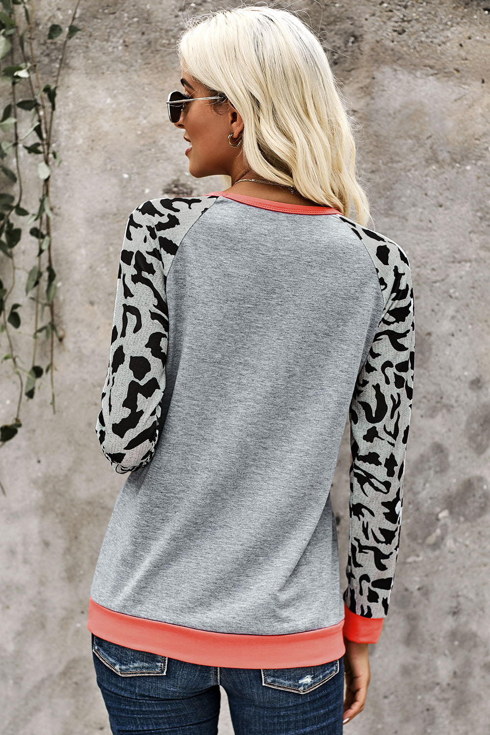 Leopard Sleeve Heather Gray Sweatshirt