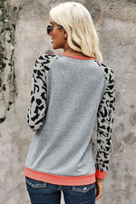 Load image into Gallery viewer, Leopard Sleeve Heather Gray Sweatshirt