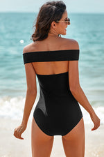 Criss Cross Off Shoulder Ruched One-piece Swimwear