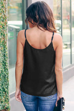 Black Embossed Mesh Cami Tank