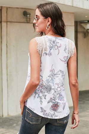 Freesia Floral Print Contrast Lace Tank