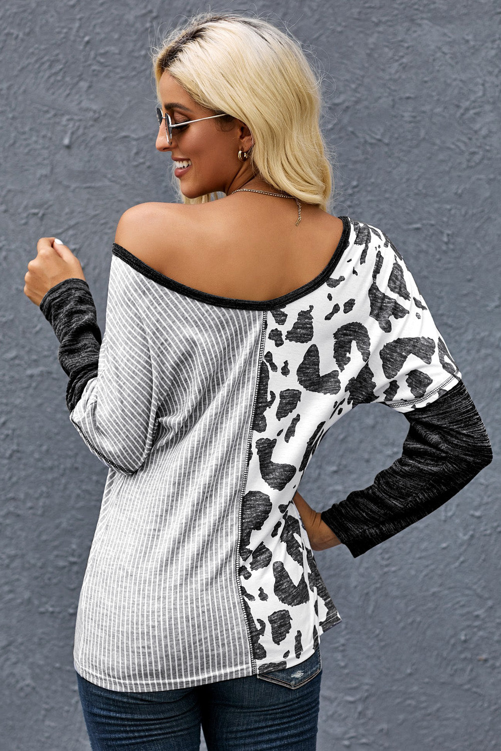 Gray Spot Print Color Block Blouse