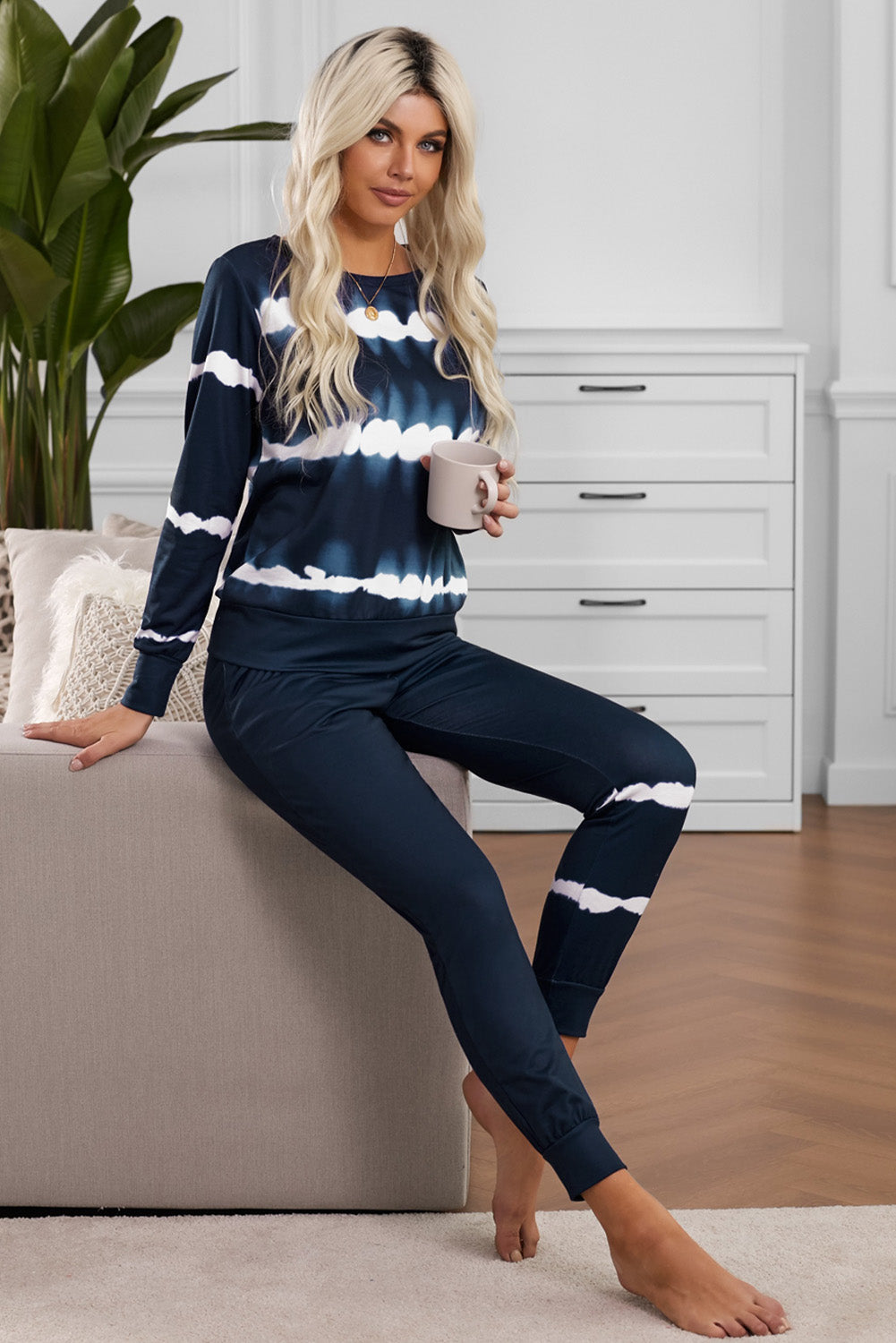 Navy Tie-dye Stripes Pullover Top and Pants Lounge Set