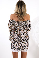 Load image into Gallery viewer, Leopard Off Shoulder Flared Sleeve Top