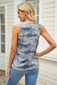 Hollow Out Camouflage Tank Top