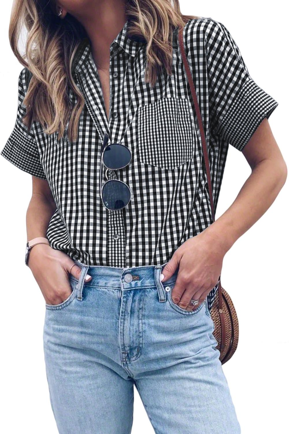 Gingham Play Button Down Shirt
