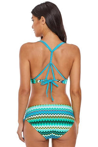 Greenish Zigzag Print Strappy Bikini Swimsuit