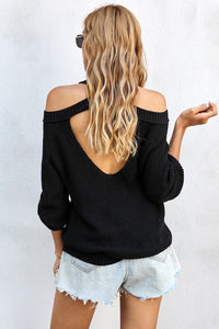 Cool Breeze Cotton Cold Shoulder Sweater