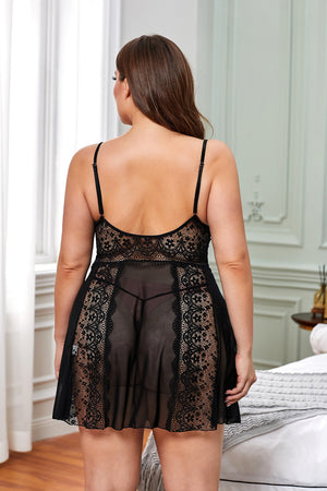 Color Block Hollow-out Lace Gauze Patchwork Plus Size Babydoll
