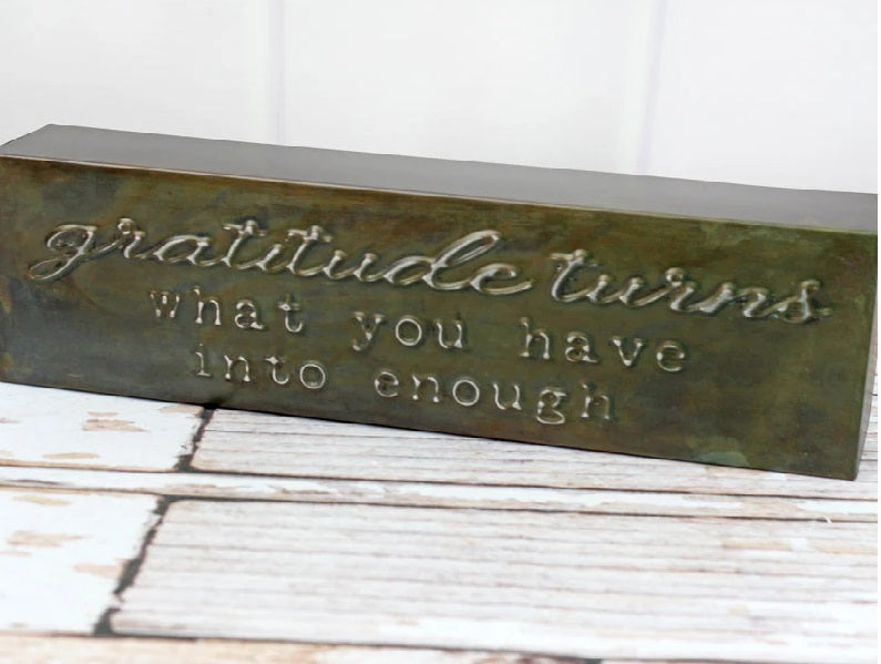 'GRATITUDE' PUNCHED METAL BLOCK SIGN