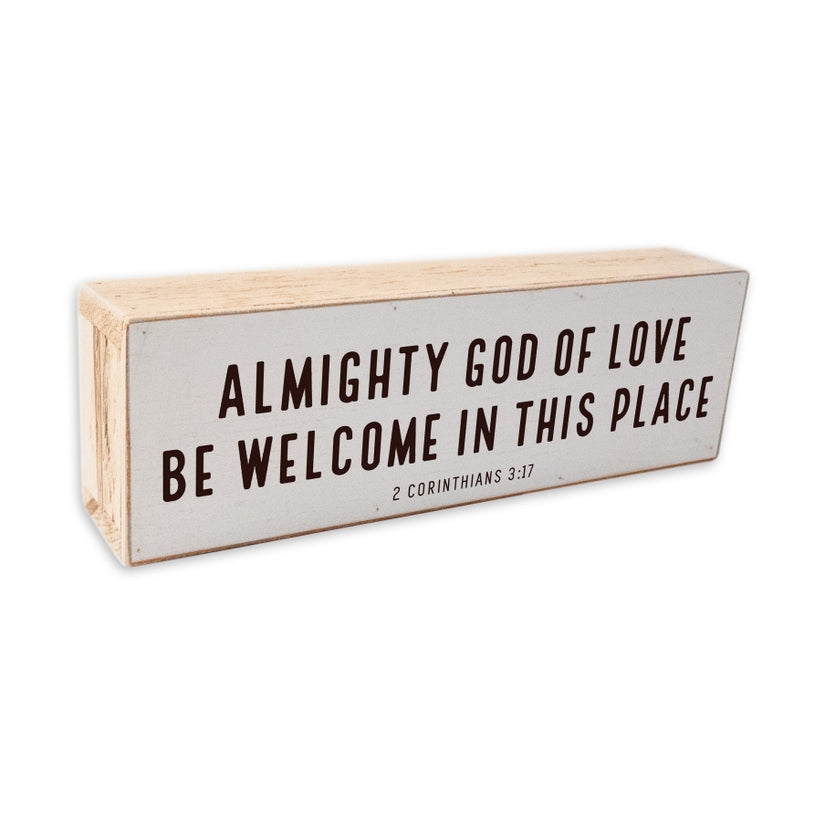 Amightly God of Love Wood Frame Shelf Sitter