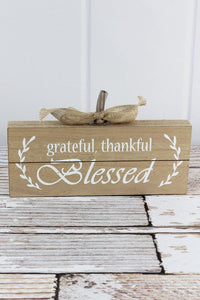Grateful, Thankful, Blessed Burlap Trimmed Wood Sign
