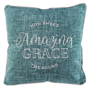 "18"" x x18""  Amazing Grace Decorator Pillow, Teal"