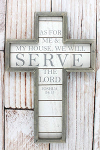 "12"" x 8""  'As For Me & My House' Framed Wood Wall Cross"
