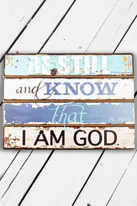 "14"" X 19"" BE STILL PSALM 46:10 WOODEN WALL PLAQUE"