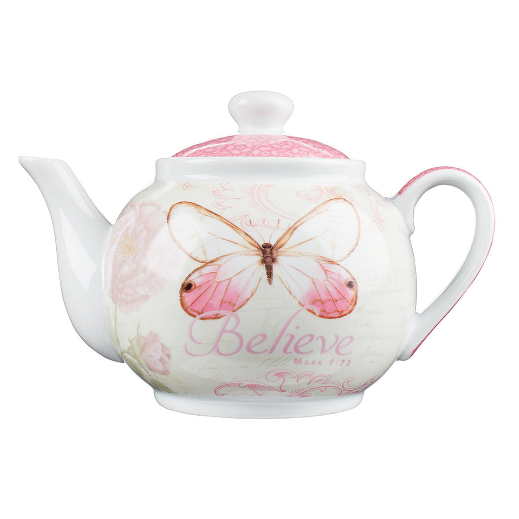 Butterfly Blessings - Mark 9:23 Tea Pot