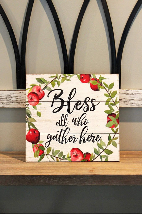 'Bless' Apple Wreath Wood Wall Sign