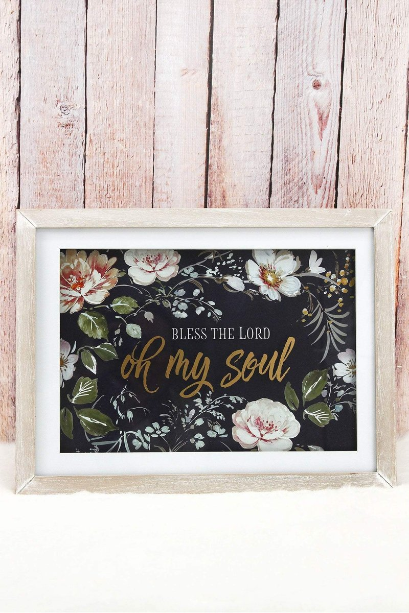 Bless the Lord Oh My Soul Glass Framed Wall Art
