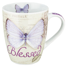 Load image into Gallery viewer, Butterfly Blessed in purple Jeremiah 17:7 Coffee Mug