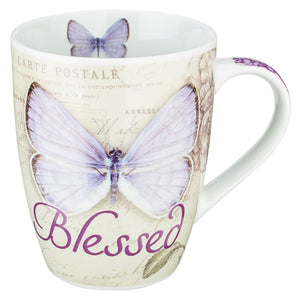 Butterfly Blessed in purple Jeremiah 17:7 Coffee Mug