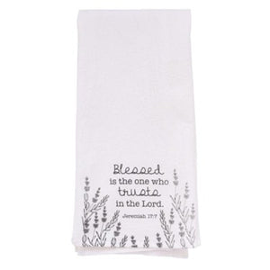 """Blessed is the One"" Tea Towel"