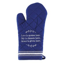 Load image into Gallery viewer, Love Is Spoken Here Quilted Oven Mitt in Blue