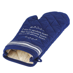 Love Is Spoken Here Quilted Oven Mitt in Blue