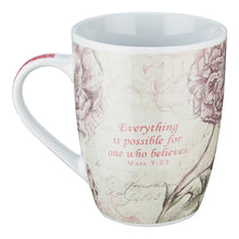 Load image into Gallery viewer, Butterfly Believe in Pink Mark 9:23 Coffee Mug