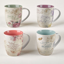 Load image into Gallery viewer, Floral Inspirations Set of Four Coffee Mugs