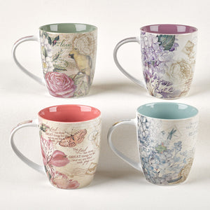 Floral Inspirations Set of Four Coffee Mugs