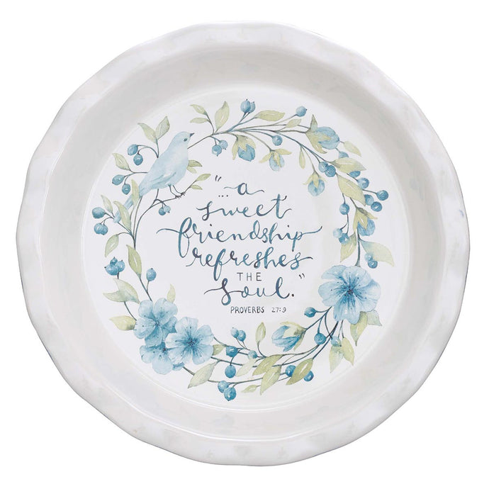 A Sweet Friendship 9.5-Inch Ceramic Pie Plate - Proverbs 27:9