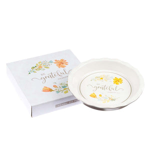 Be Grateful 9.5-Inch Ceramic Pie Plate - Hebrews 12:28