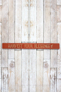 Harvest Your Blessings' Wood Plank Sign - Window/Door Topper