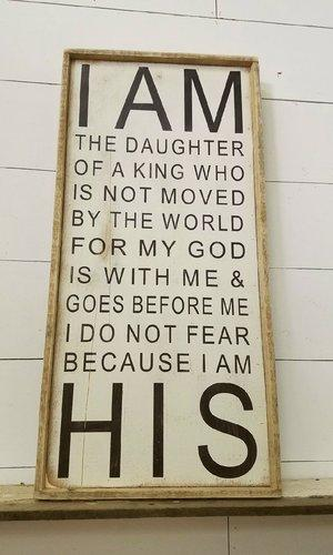 """I Am the Daughter of…"" Tall Framed Sign"