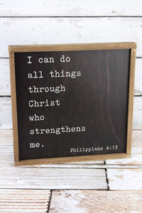 "12"" x 12"" ""All Things Through Christ Framed Wall Art"