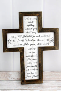"15.5"" X 12"" Inspirational Wood Framed Wall Cross"