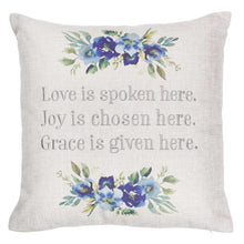 Load image into Gallery viewer, Love Joy Grace Square Decorative Pillow in Light Grey