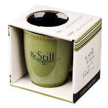 Load image into Gallery viewer, Be Still Sage Green Stoneware Coffee Mug - Psalm 46:10