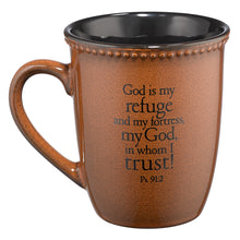 Load image into Gallery viewer, Trust Saddle Tan Stoneware Coffee Mug - Psalm 91:2