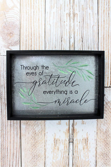 'Gratitude' Wood and Tin Tray