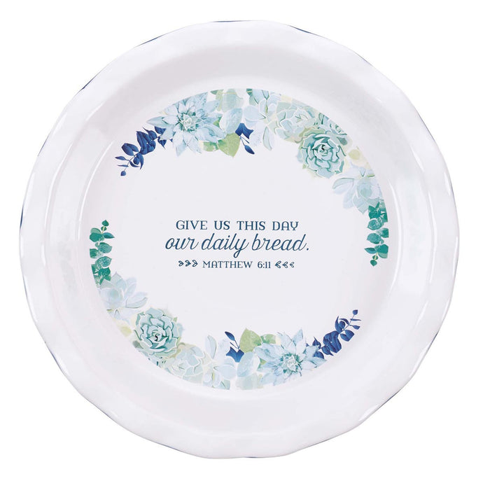 Our Daily Bread 9.5-Inch Ceramic Pie Plate in Royal Blue - Matthew 11:6